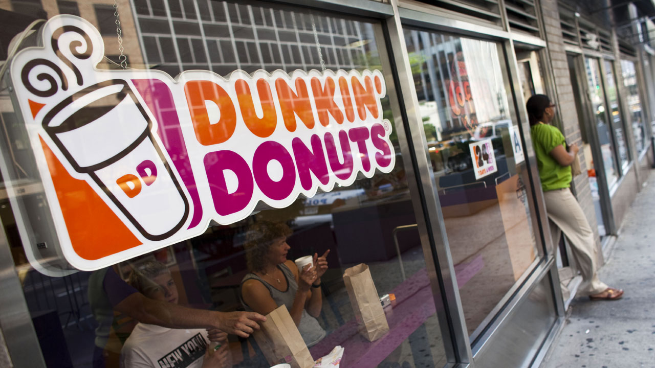 Dunkin' Donuts sign in store window60154503-159532