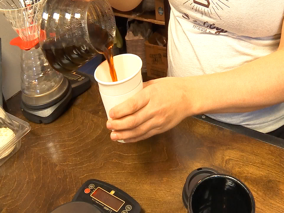Salt City Coffee being poured into cup