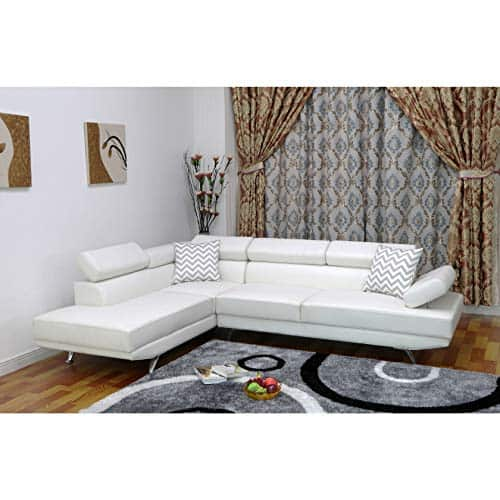 modern faux leather left facing chaise sectional sofa