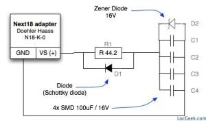 Montage condensateurs pour décodeur N