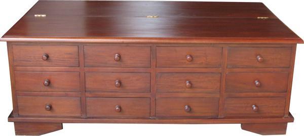 12 drawer mahogany coffee table