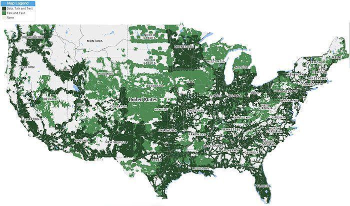 Mapa de cobertura en Estados Unidos