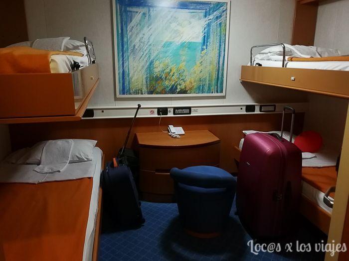Grecia: Nuestro camarote en el ferry El Pireo-Heraklion