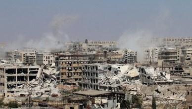 De wijk Leramun in het noordwesten van Aleppo tijdens gevechten op 26 juni 2016