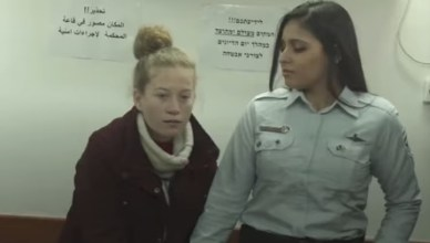 A screen shot of Ahed Tamimi after she was taken into custody by Israeli occupation forces