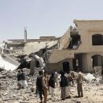 Een vernietigd huis in het zuiden van Sana'a, de hoofdstad van Jemen.
