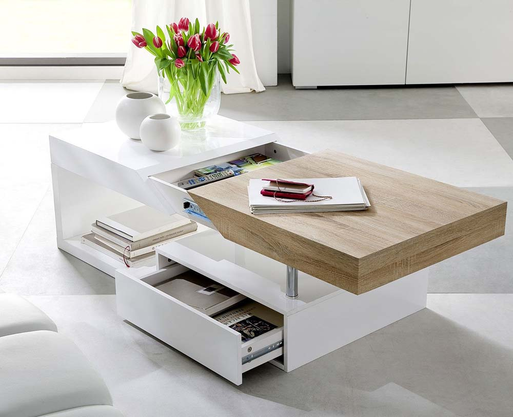 modanuvo hope modern white gloss oak extending storage coffee table with drawer