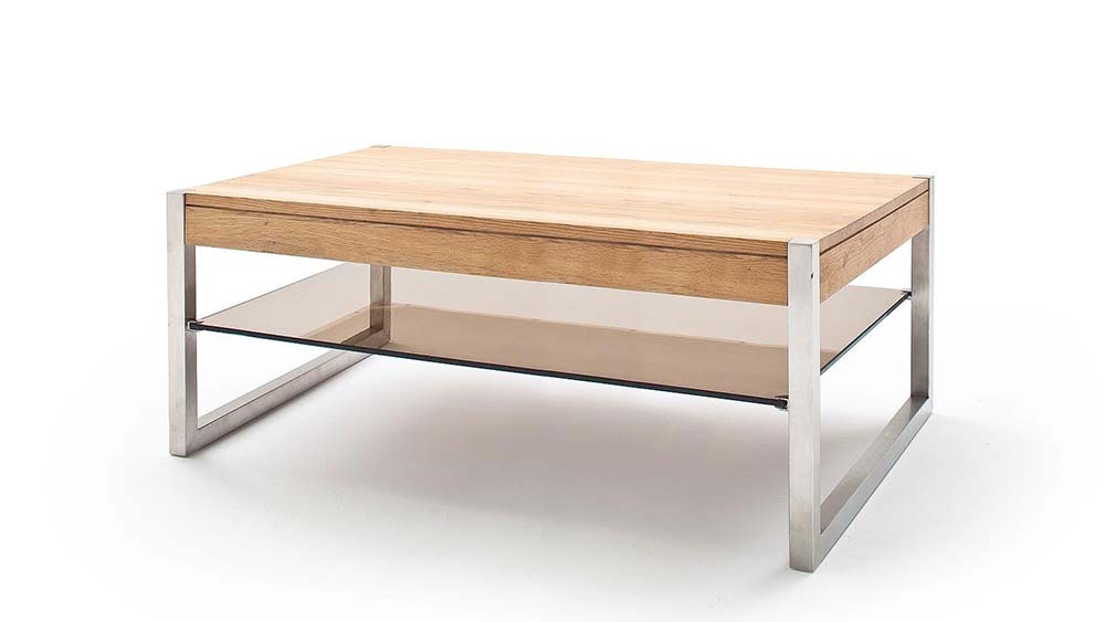 modanuvo migel modern solid oak coffee table glass shelf stainless steel metal legs