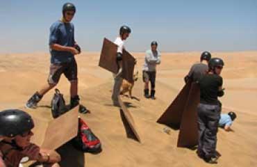 Sandboarding in the Namib desert