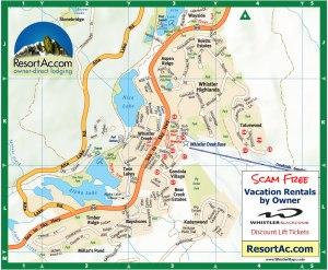 Whistler Creekside Lodging Map