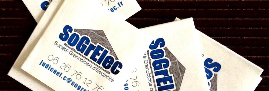 Papeterie pro Sogrelec : carte de visite et stickers