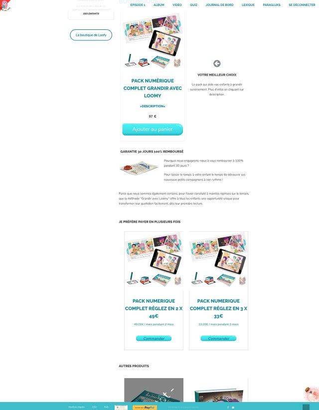 Page de la boutique de Loofy