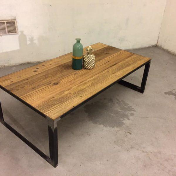 table acier vieux bois