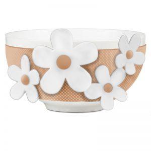 BACI MILANO Bowl Ciotola Bianca E Pesca Fiori Bianchi Flower Glam