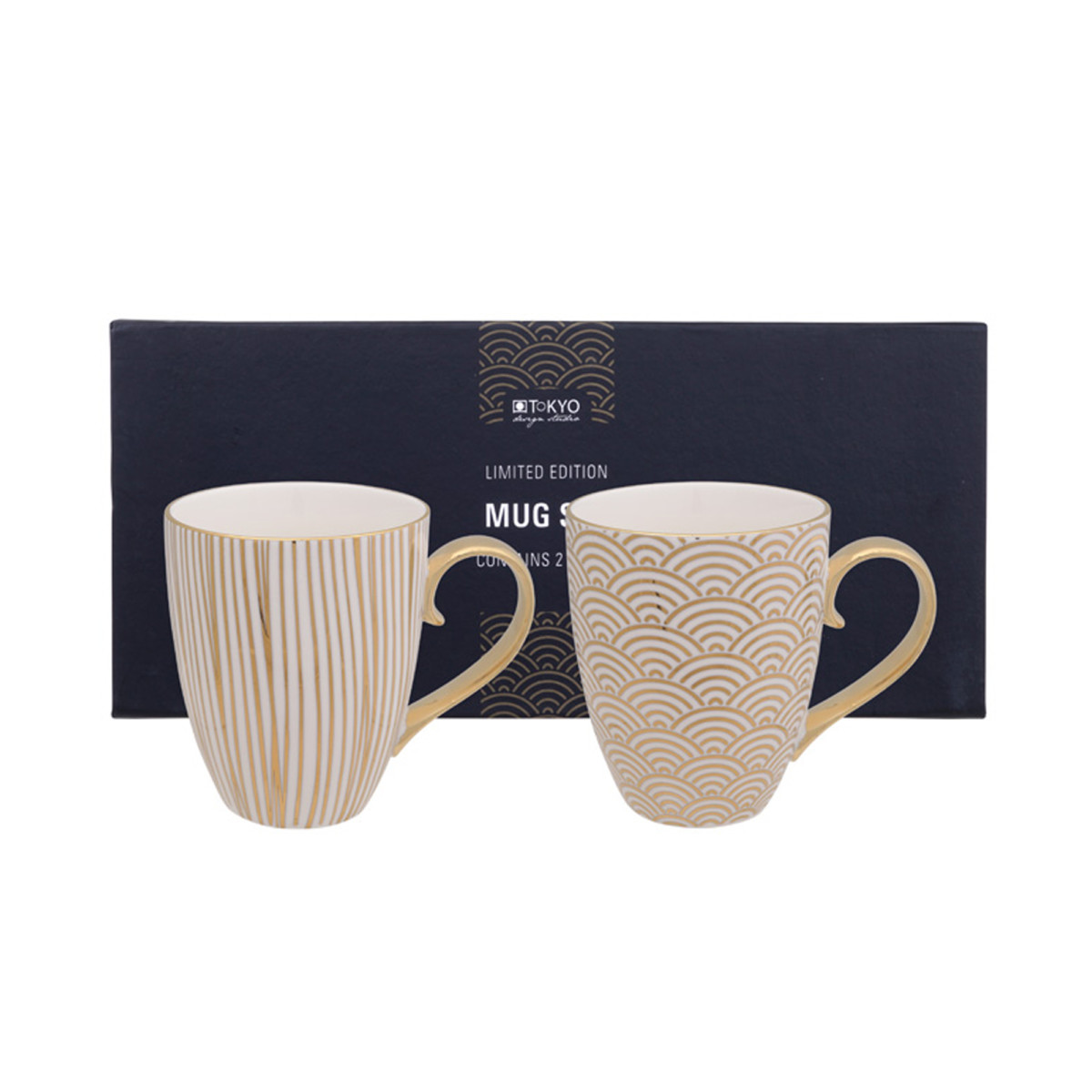 TOKYO DESIGN – LIMITED EDITION – NIPPON GOLD MUG SET 2PCS 380ML WAVE & LINES