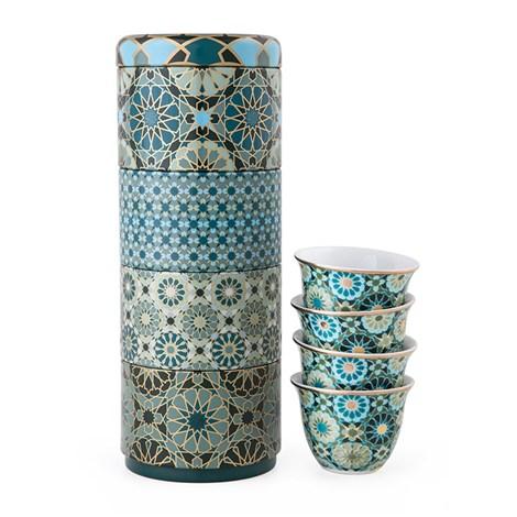 Images D'Orient | Andalusia | Scatola Di Latta Con 4 Tazze Da Caffè In Porcellana 60 Ml