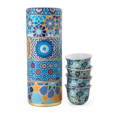 Images D'Orient | Moucharabieh | Scatola Di Latta Con 4 Tazze Di Caffè In Porcellana Blu 60 Ml