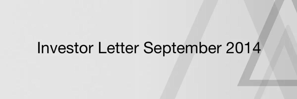 Investor Letter September 2014