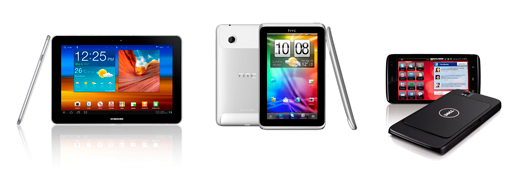 Samsung Galaxy Tab 10.1, HTC Flyer ve Dell Streak