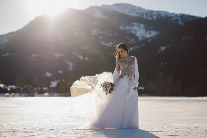 sunset bride in whistler winter season