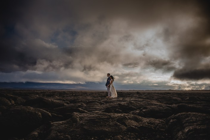 destination wedding photography hawaii lava field