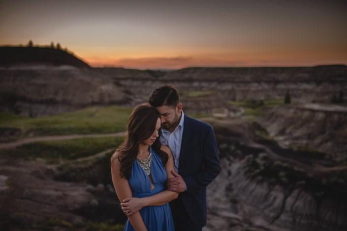 drumheller sunset engagement couple