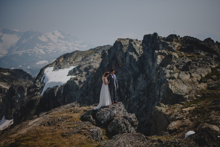 whistler peak wedding couple