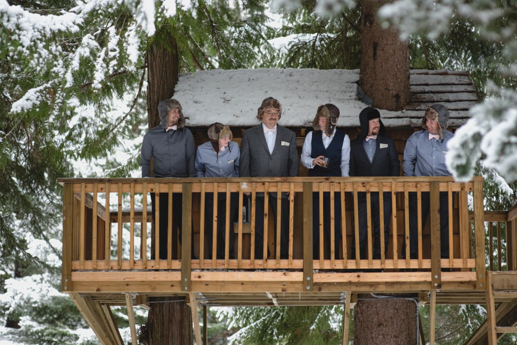 wedding party in a treehouse