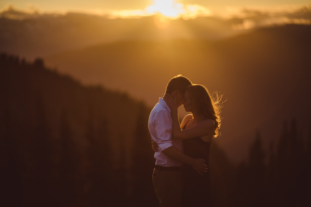 sunset couple embrace for their Whistler engagement