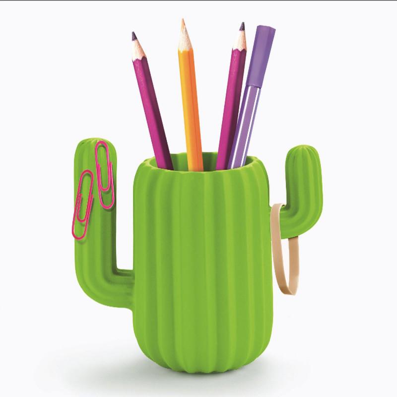 Pot Crayons Aimant En Forme De Cactus Vert Sur Logeekdesign