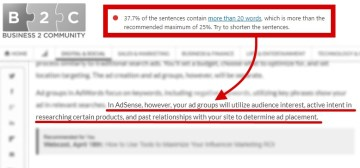Example: How to Get the Best Results with Google AdSense Video Ads [B2C, Ana Gotter] -- 37.7% of sentences contain more than 20 words