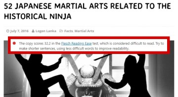 Example: 52 Japanese Martial Arts Related to the Historical Ninja [Way Of Ninja, Logen Lanka] -- Flesch Reading Ease Score: 32.2 (failure due to numerous transliterated Japanese terms and martial arts organisation)