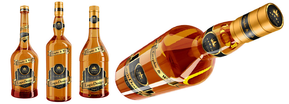 Whisky and Cognac Bottle Mock Up