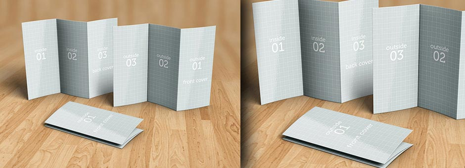 tri-fold brochure mock-up details