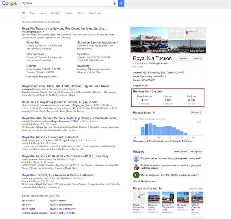 google reviews from the web example car dealership