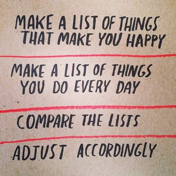 Make a list of joyful things to be done