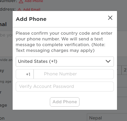 roblox add phone
