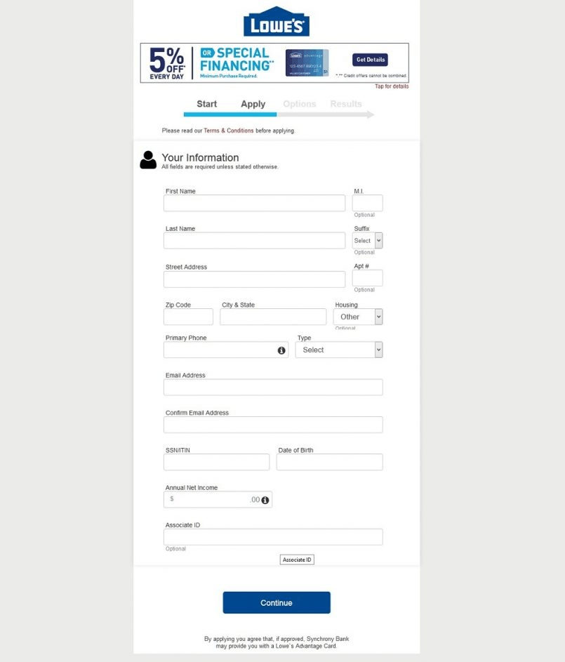 Lowes Advantage Credit Card Registration form