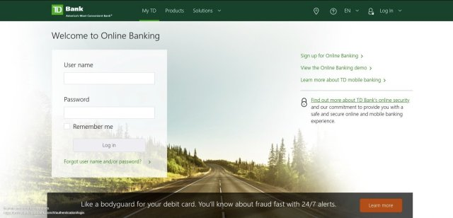 TD Bank Account Login Page