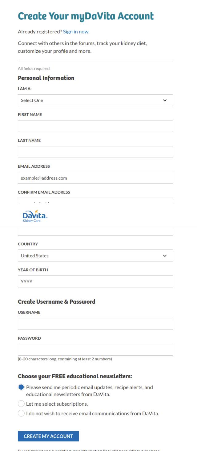 Register myDavita account
