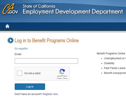 California EDD Benefits Login page