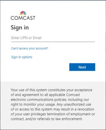 Comcast Login Page