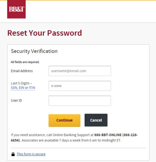 BB&T Reset Password