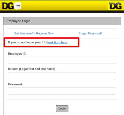 Dollar General DGme Recover Employee ID