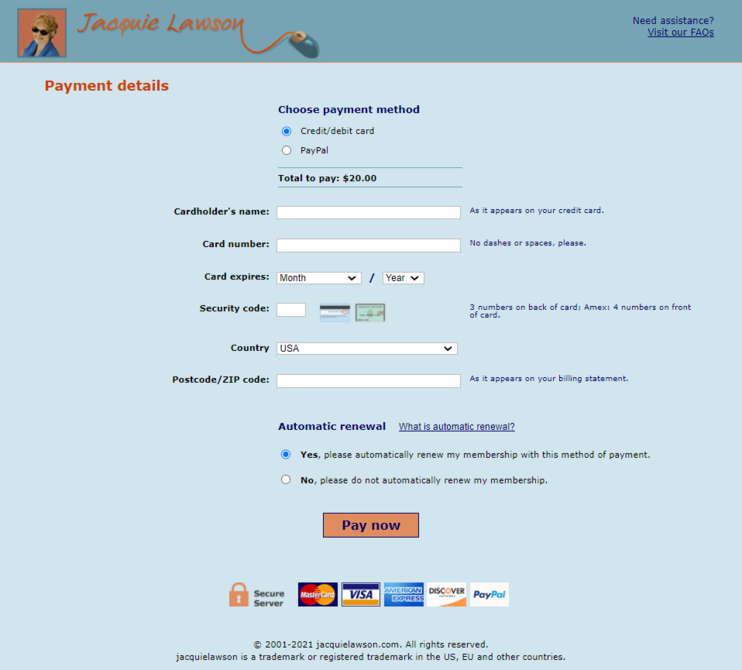 Jacquie Lawson Payment page