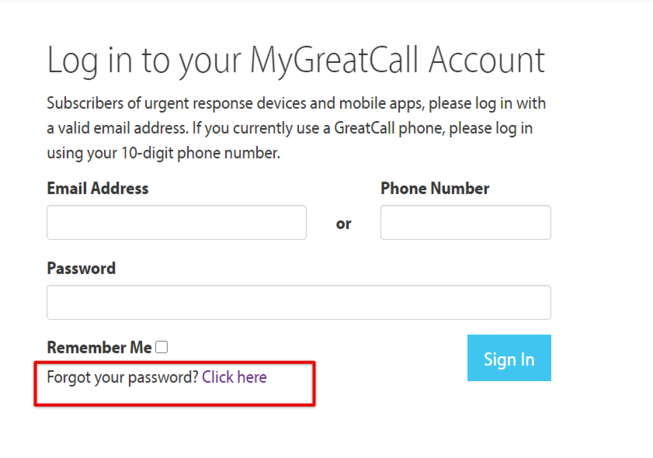 MyGreatCall Forgot Password