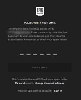 Epic games verify email id