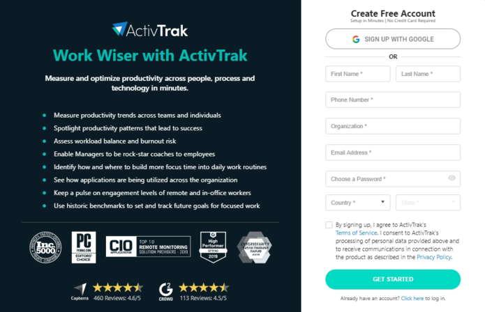 ActivTrak Sign up