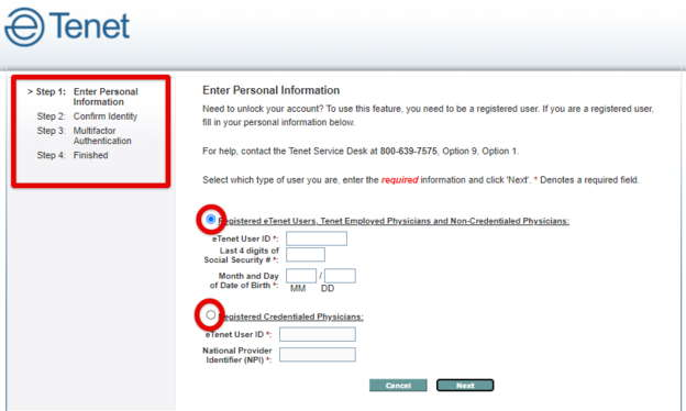 eTenet unlock Account Process