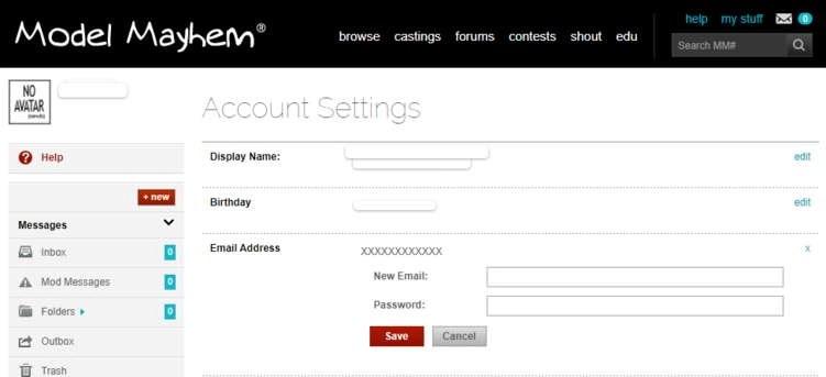 Model Mayhem email change